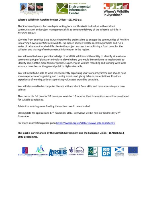Where's Wildlife in Ayrshire Advert FINAL - South West Scotland